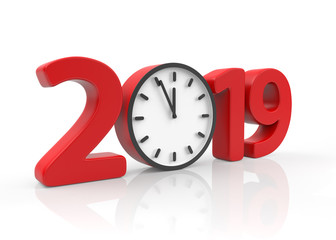 Happy New Year 2019 concept with clock, isolated on white background. 3D rendering