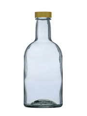glass bottle with a cover for brandy, cognac, rum, whisky isolated on a white background