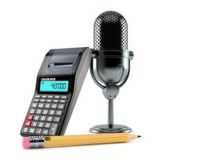 Radio microphone with calculator and pencil
