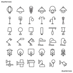 Lamp Outline Icons perfect pixel.