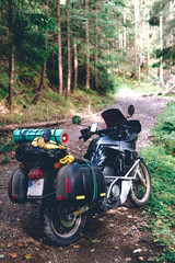 Adventure Motorbike with beautiful mountains green forest. Motorcycle trip. off road Traveling, Lifestyle Travel vacations sport outdoor concept. vertical photo