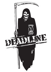 Deadline concept. Black and white cartoon vector Death with scythe and hourglass