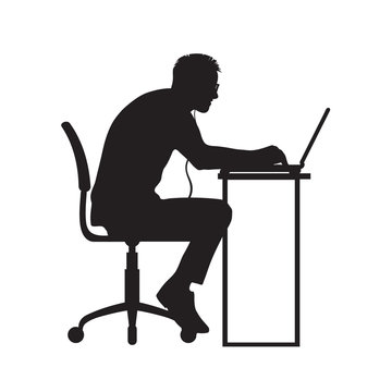 Silhouette of man working at computer. Vector