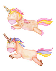 Watercolor set of flying unicorns. Children's watercolor illustration isolated on white background. For baby shower card, birthday postcard, poster.