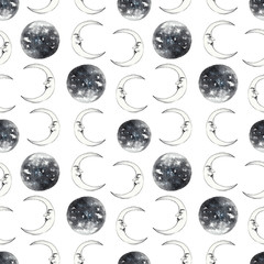 Circus seamless pattern. Moon on white isolated background