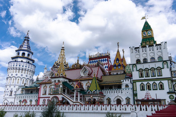 Old Russian ancient architecture of Izmaylovsky Kremlin in Moscow