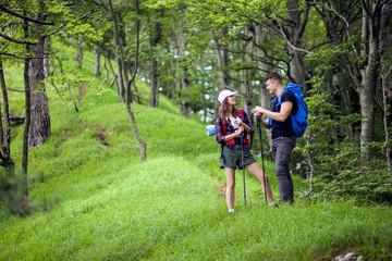 Loving couple on their hiking trip