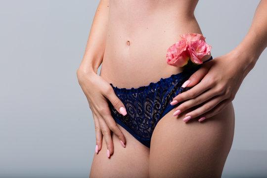 Beautiful woman wearing a lace lingerie