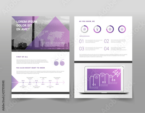 vector violet and white minimalistic business brochure template with