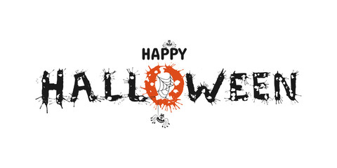 Happy Halloween vector hand drawn lettering with splash. Greeting card  calligraphy with spiders and web for holiday banner, poster or invitation.