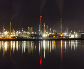 oil refinery or chemical plant at night