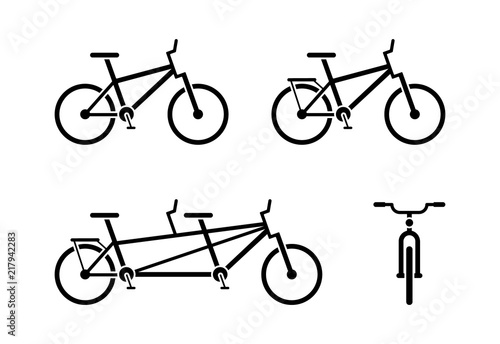Bicycle icon pictogram  Classic, tandem bike symbol  Front and side