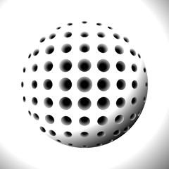 Abstract Black and White Halftone Sphere with Holes. Element for Design Isolated on White Background. Raster. 3D Illustration