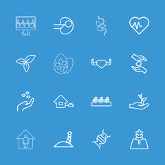 Collection of 16 life outline icons
