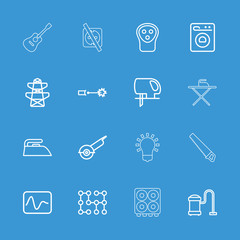 Collection of 16 electric outline icons