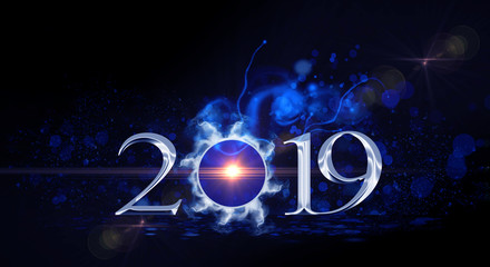 2019 on an abstract bright background with smoke and neon light. The magic of the new year and Christmas.