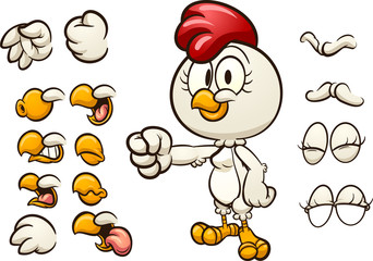 Cartoon hen with different mouth and hand positions. Vector clip art illustration with simple gradients. Some elements on separate layers.