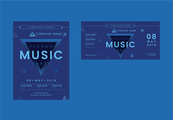 Flyer Layout Set with Blue Triangle Elements