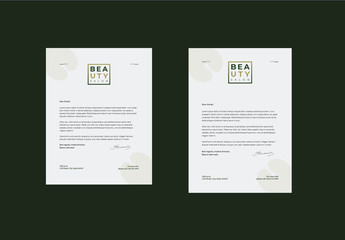 Letterhead Layout with Green Gradient Box Element