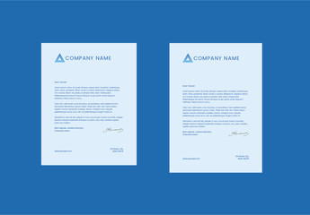 Letterhead Layout with Blue Triangle Elements