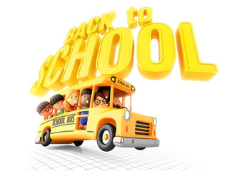 Back to school! Smiling little girls and boys in yellow bus. 3D illustration on white background.