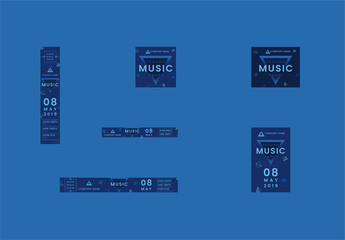 Web Banner Layout Set with Blue Triangle Elements