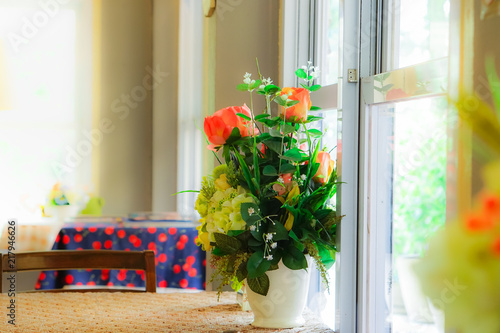 Beautiful Of Flowers In A Vase On Dinning Table The Background Is