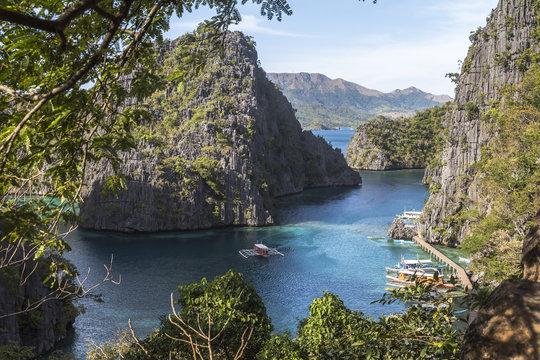 View on sea landscape near kayangan lake, philippines