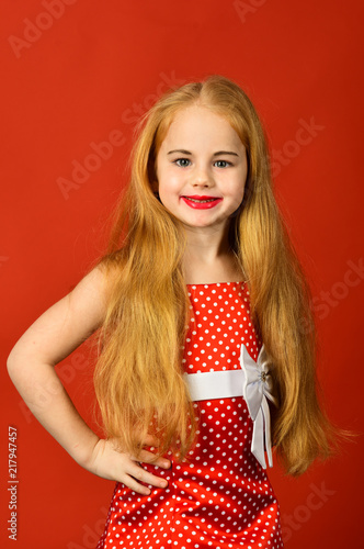Fashion And Beauty Pinup Style Childhood Little Girl In Vintage