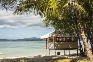 Beach cottage on philippine island and beautiful sea