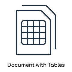 Document with Tables icon vector isolated on white background, Document with Tables sign , thin symbols or lined elements in outline style