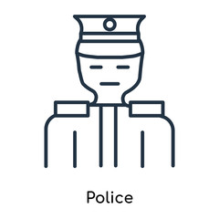 Police icon vector isolated on white background, Police sign , thin symbols or lined elements in outline style