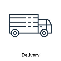 Delivery icon vector isolated on white background, Delivery sign , thin symbols or lined elements in outline style