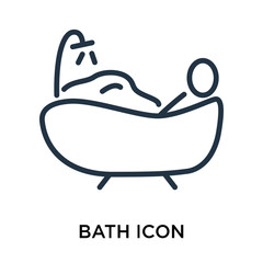 Bath icon vector isolated on white background, Bath sign , thin elements or linear logo design in outline style