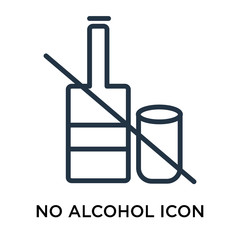 No Alcohol icon vector isolated on white background, No Alcohol sign , thin elements or linear logo design in outline style
