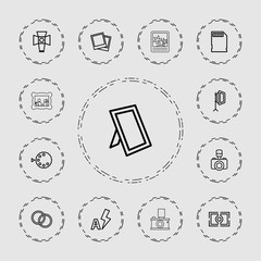 Collection of 13 photo outline icons