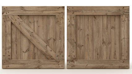 Wooden crate front view, cargo box texture, 3d illustration