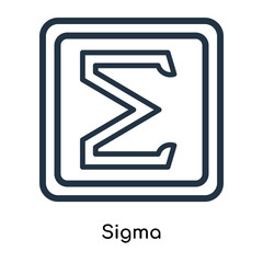 Sigma icon vector isolated on white background, Sigma sign , line symbols or linear logo design in outline style