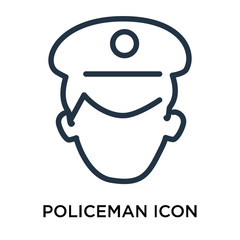 Policeman icon vector isolated on white background, Policeman sign , thin elements or linear logo design in outline style