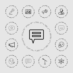Collection of 13 speech outline icons