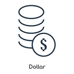 Dollar icon vector isolated on white background, Dollar sign , thin symbols or lined elements in outline style