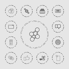 Collection of 13 network outline icons