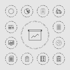 Collection of 13 report outline icons