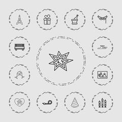 Collection of 13 holiday outline icons