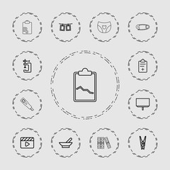 Collection of 13 clip outline icons