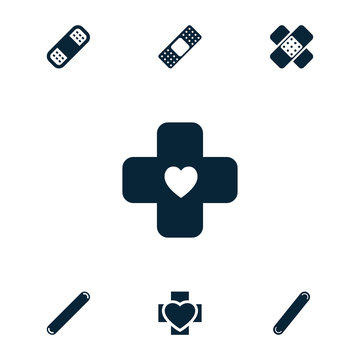 Collection of 7 bandaid filled icons