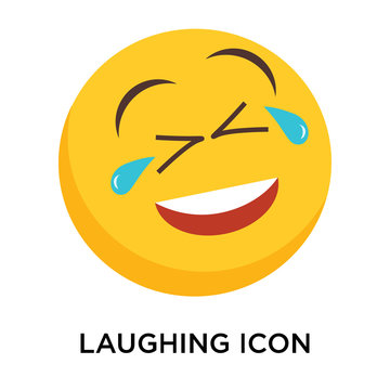 Laughing icon vector isolated on white background, Laughing sign
