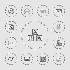 Collection of 13 letter outline icons