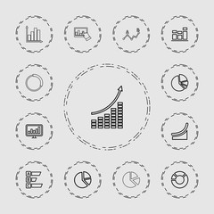 Collection of 13 diagram outline icons