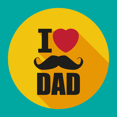 I love DAD. Flat. Poster, banner or flyer design with stylish text I Love Dad and red heart shape on brown background for Happy Father's Day celebrations.